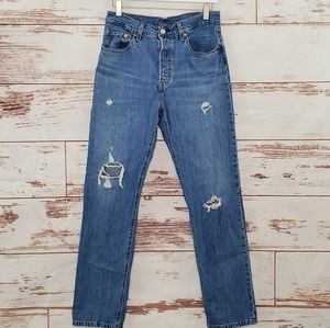 Distressed Levi's 501 Button Fly Jeans 28x30